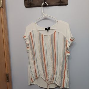 Iz Byer lg striped peep tye tee shirt rustic color